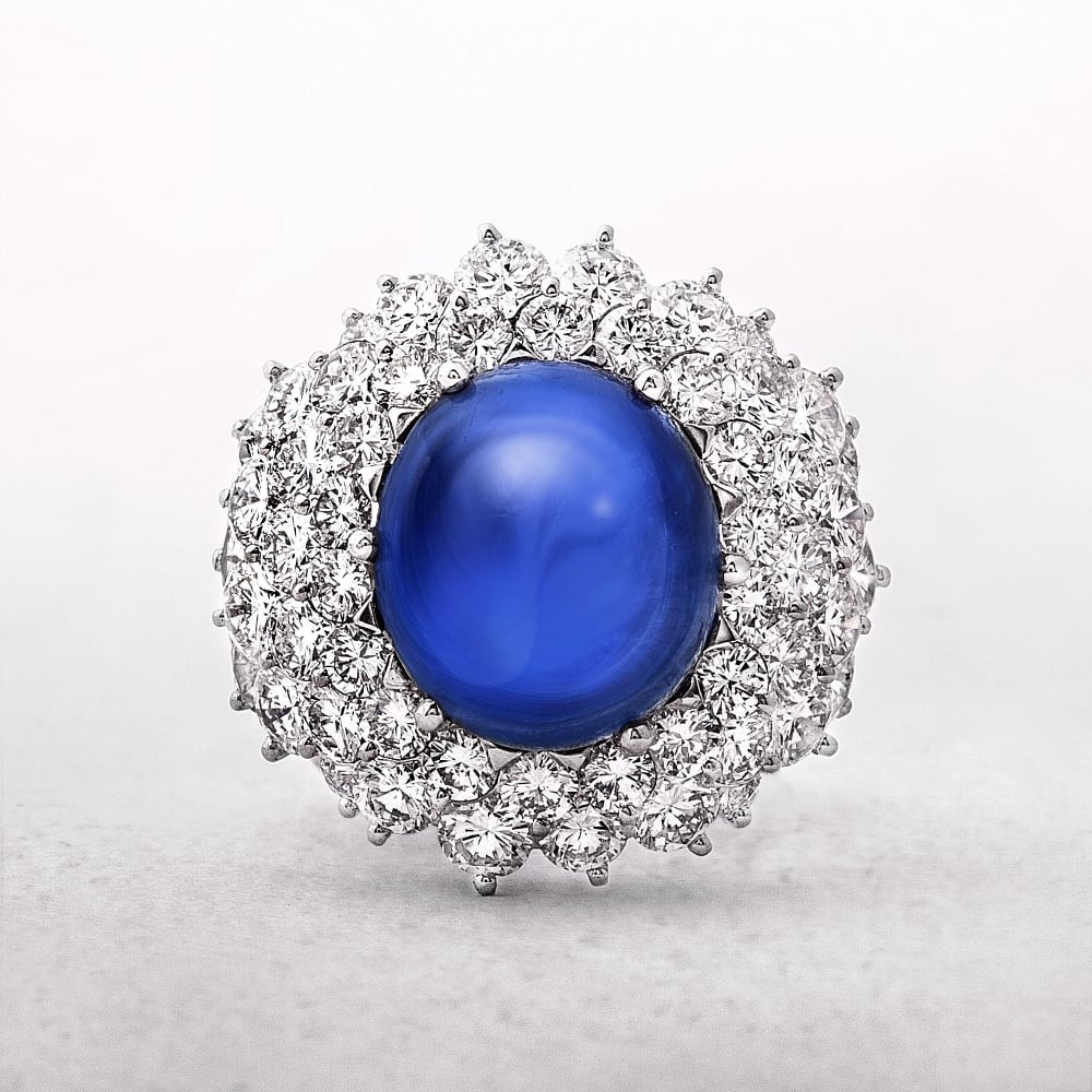 sapphire and diamond turn jewellery cluster ring london burmese ofthe century