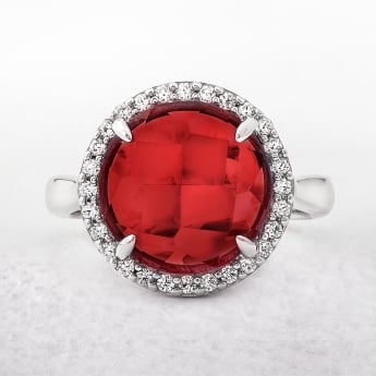 Red Cubic Zirconia Sterling Silver Valdo Zeni Dress Ring