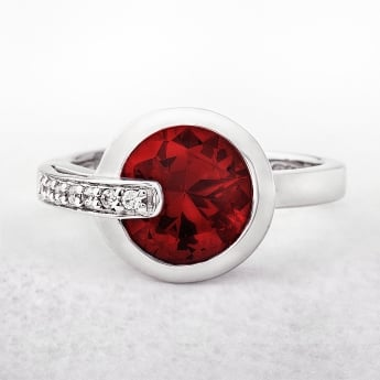 Red Cubic Zirconia Valdo Zeni Dress Ring in Sterling Silver