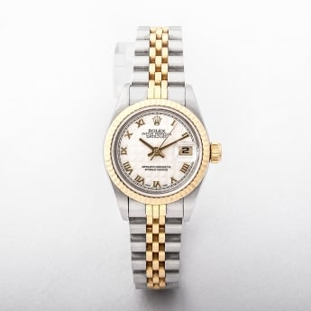 Rolex Ladies 1996 Certified Two Tone Watch with tapestry Dial #69173