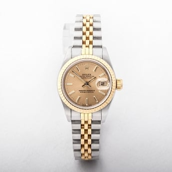 Rolex Ladies 2002 Certified Datejust with Champagne Dial Steel & Gold