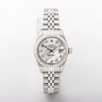Rolex Ladies 2004 Datejust Diamond Watch with Mother of Pearl Dial