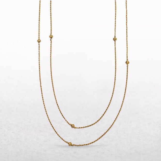 Rope & Ball Link Muff Chain Made in 9ct Gold