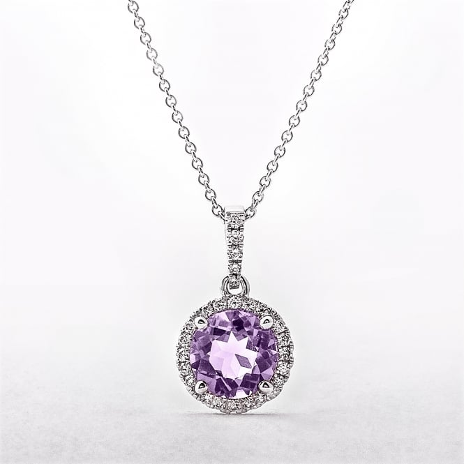 Round Amethyst & Diamond 18ct White Gold Cluster Pendant