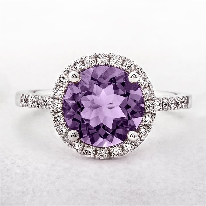 Round Amethyst & Diamond White Gold Dress Ring