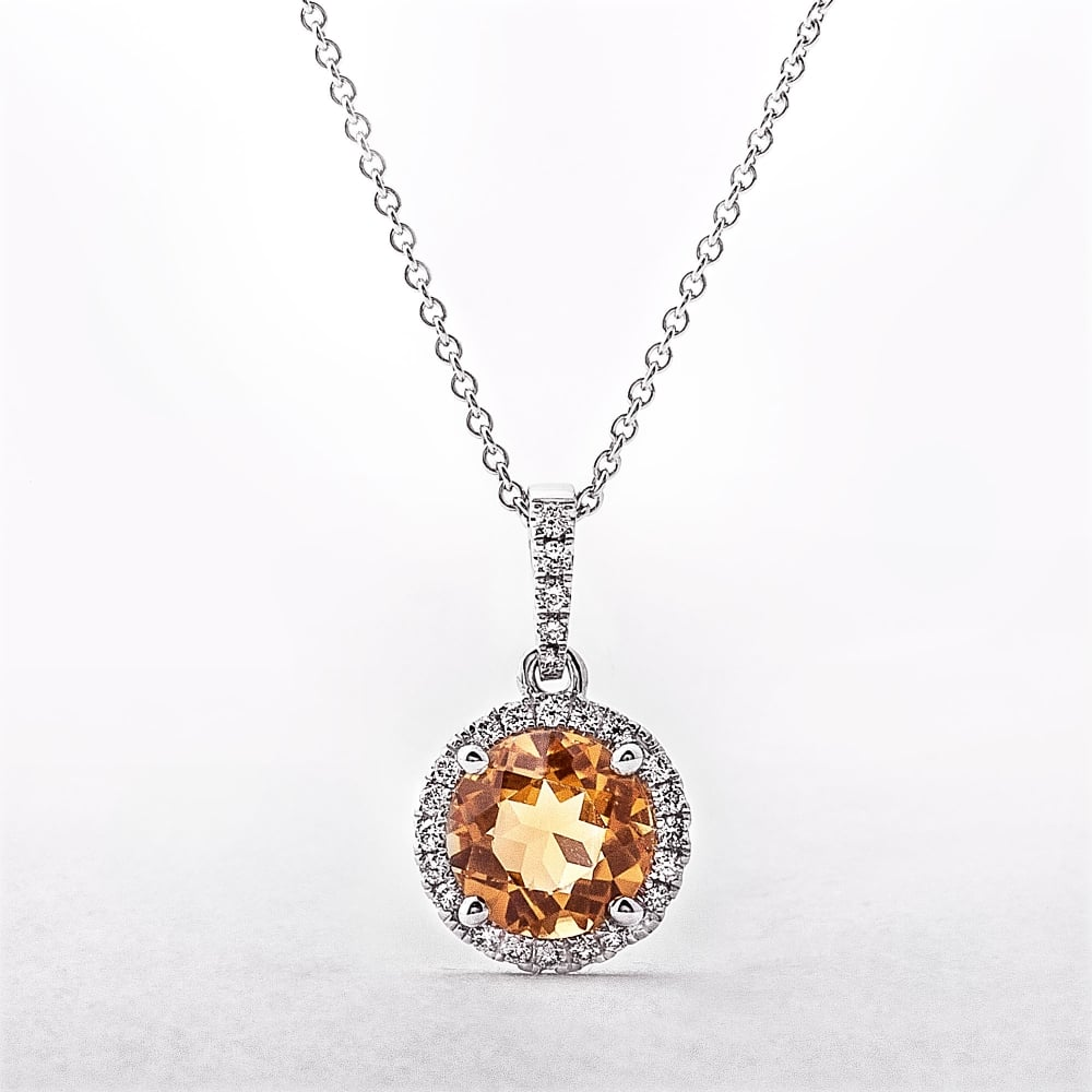 Citrine diamond pendant in white gold round citrine diamond pendant in white gold aloadofball Image collections