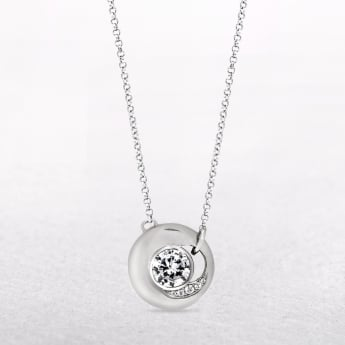 Round Silver Necklace with Cubic Zirconias & Fixed Chain