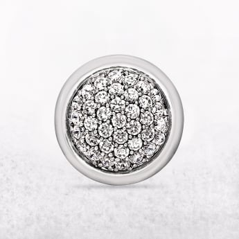 Round Sterling Silver Ring with Micro Set Cubic Zirconias