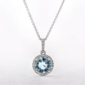 Round Topaz & Diamond 18ct White Gold Cluster Pendant