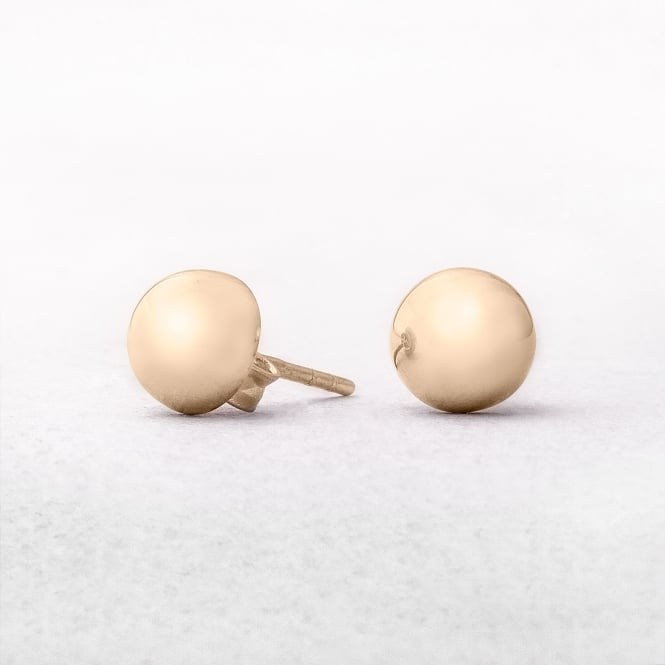 Round Yellow Gold Button Stud Earrings