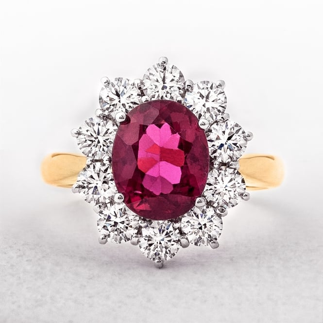 Rubellite Diamond Cluster Ring