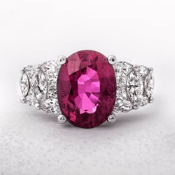 Rubellite & Diamond White Gold Dress Ring
