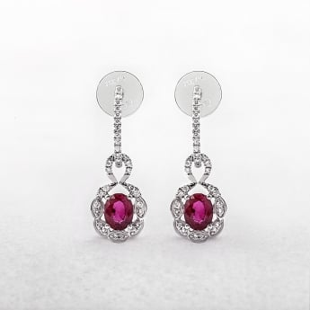 Ruby and Diamond Earrings Drop Style in White Gold