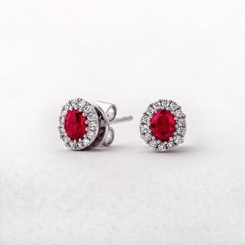 Ruby and Diamond Oval Stud Earrings in White Gold
