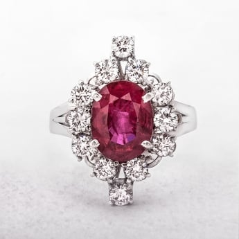 Ruby and Diamond Platinum Vintage Cluster Ring