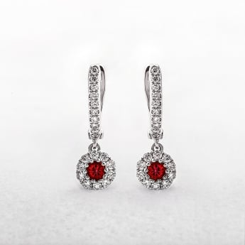 Ruby and Diamond Round Drop Earrings in White Gold