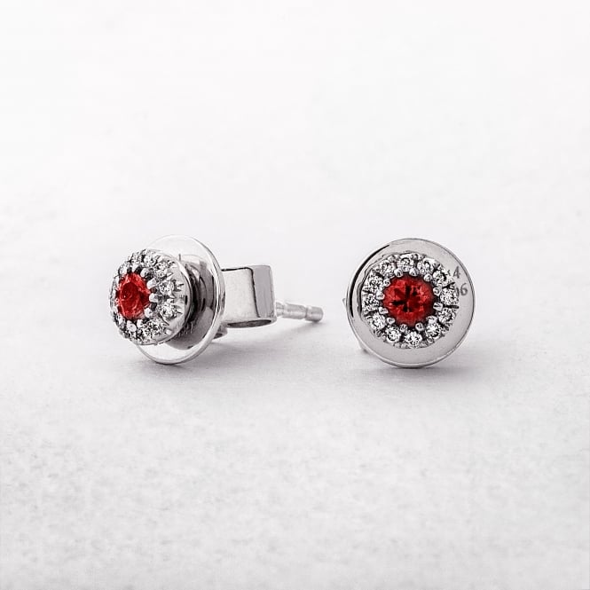 Ruby and Diamond Round Stud Earrings in White Gold