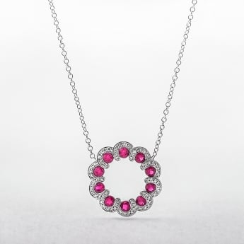 Ruby and Diamond Wreath Style Circle Pendant in White Gold