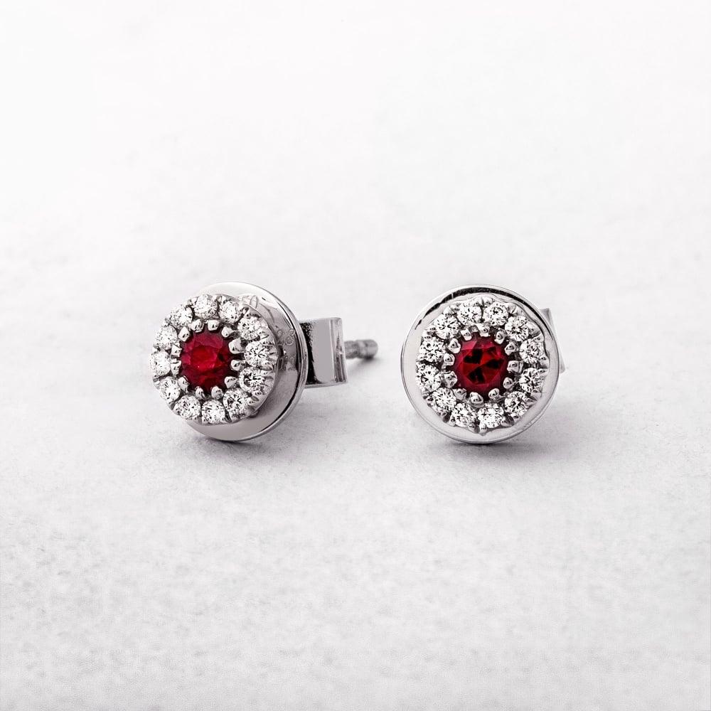 Ruby Diamond White Gold Stud Earrings