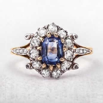 Sapphire 18ct Gold Antique Oval Cluster Ring