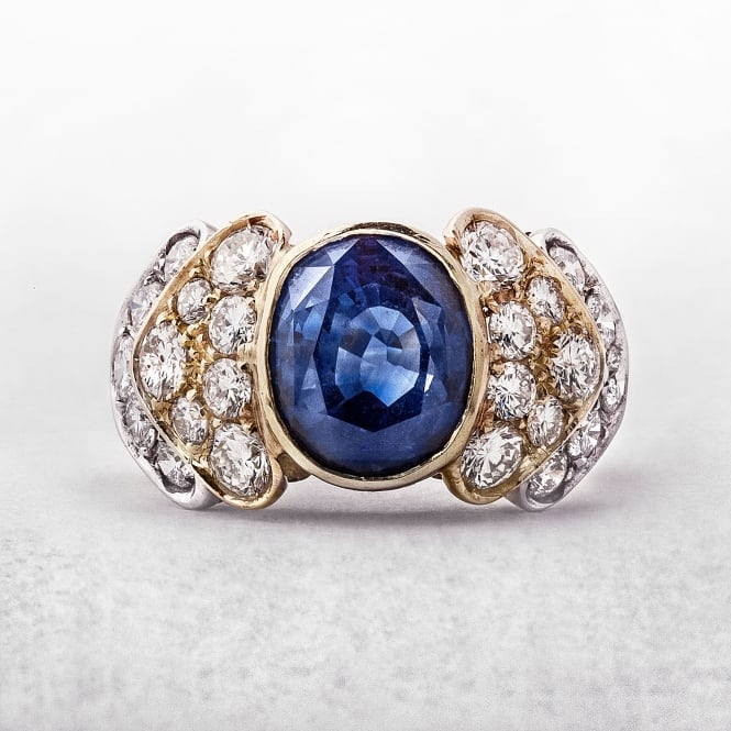 Sapphire and Diamond by Giovanni Virano 18ct Gold Ring