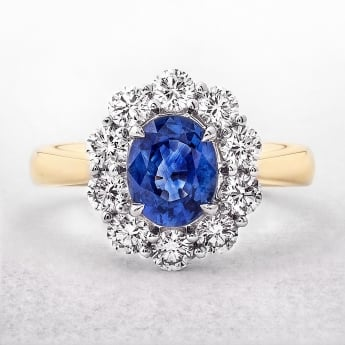 Sapphire and Diamond Cluster Ring in Yellow Gold