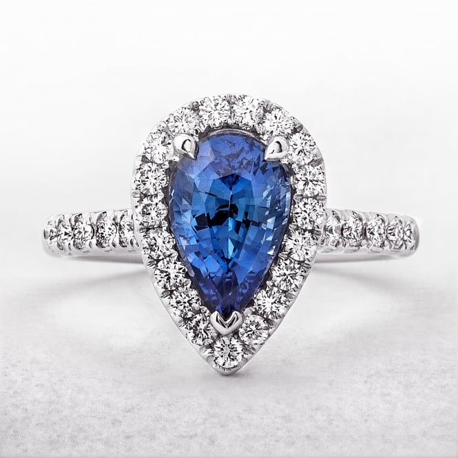 Sapphire and Diamond Pear Cut Ring in White Gold