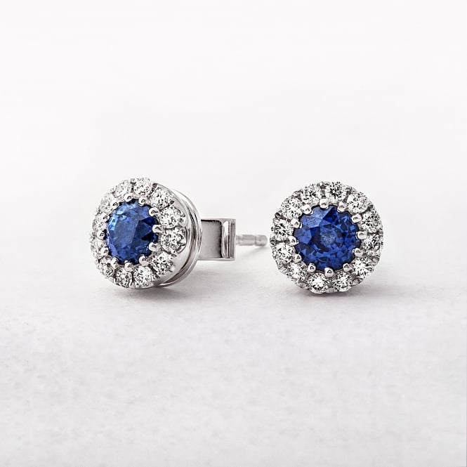 Sapphire and Diamond Round Stud Earrings in White Gold