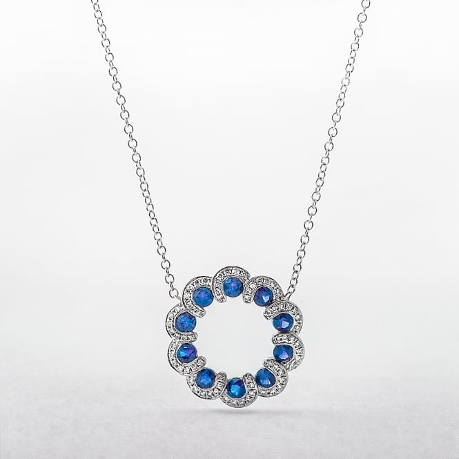 Sapphire and Diamond Wreath Style Circle Pendant in White Gold