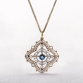 Sapphire and Pearl 15ct Gold Vintage Pendant