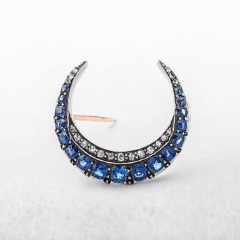 Sapphire & Diamond Crescent Shape 9ct Antique Brooch