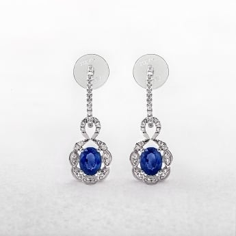 Sapphire Diamond Oval Drop Earrings in White Gold