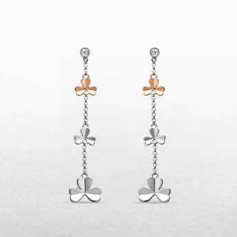 Shamrock & Cubic Zircona Irish Rose Gold Drop Earrings