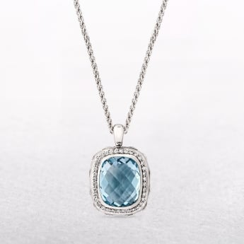 Silver Blue Topaz Pendant with Cubic Zirconia Halo