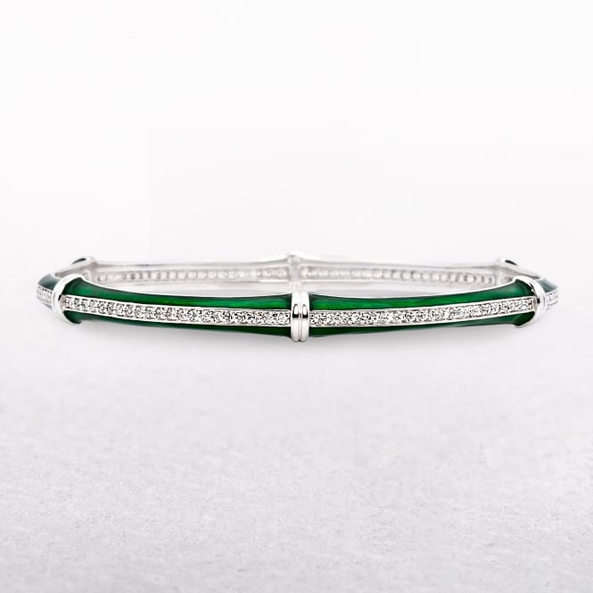 Silver Cubic Zircona Green Ceramic Edge Bangle