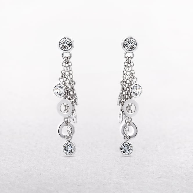Silver Disc Drop Earrings with Multiple Cubic Zirconias
