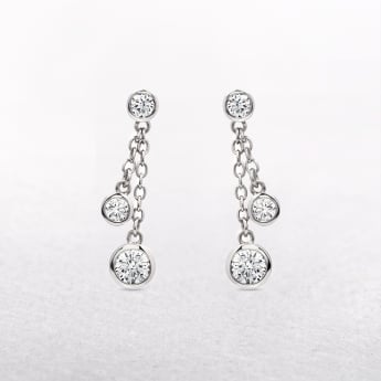Silver Drop Earrings with Chain Detail & Cubic Zirconia