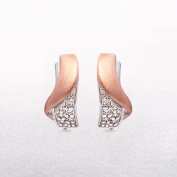 Silver Embrace Shaped Rose Gold Plating with White Cubic Zirconias Earrings