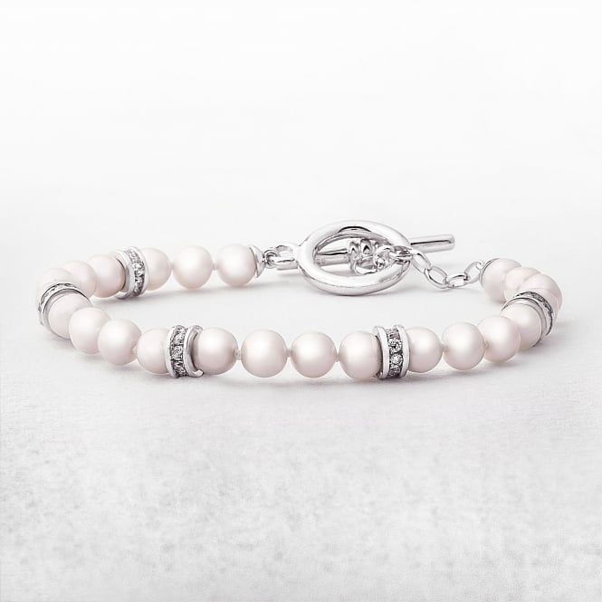 Silver Freshwater Pearls & Cubic Zircona Ring Bracelet