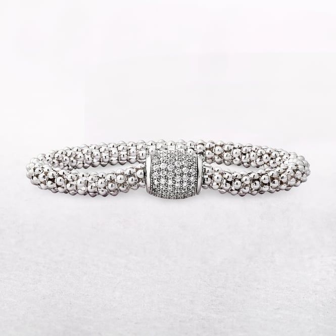 Silver Mesh Bracelet with Cubic Zirconia & Hidden Magnetic Clasp