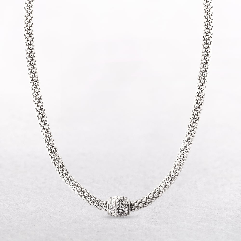 Silver mesh necklace with magnetic cubic zirconia clasp aloadofball Gallery