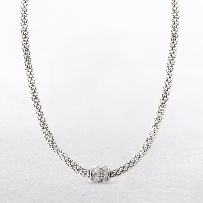 Silver Mesh Necklace with Magnetic Cubic Zirconia Clasp