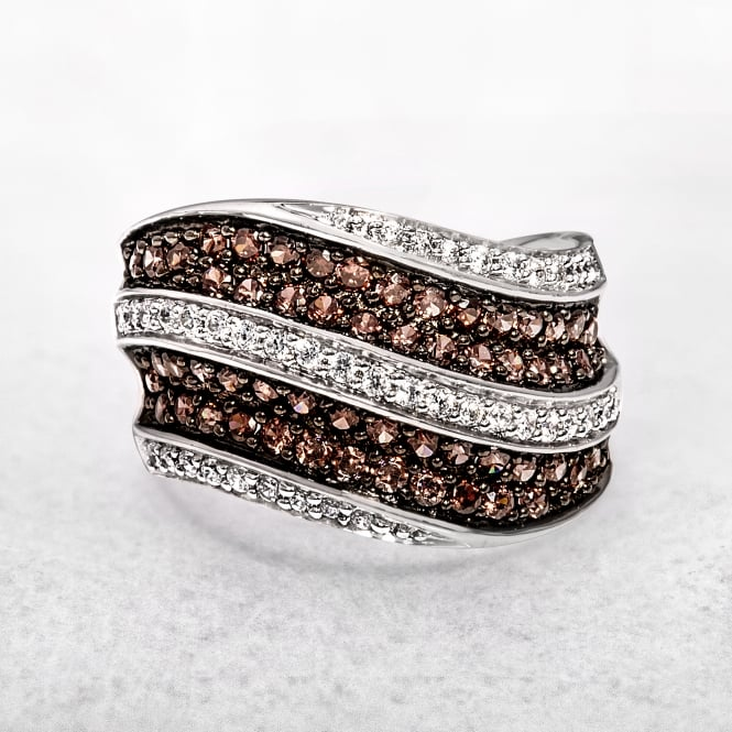 Silver Ring with Cubic Zirconias in White & Brown Tones