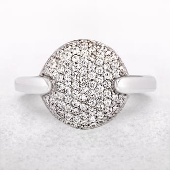 Silver Ring with Micro Set Cubic Zirconias & Indented Shoulders