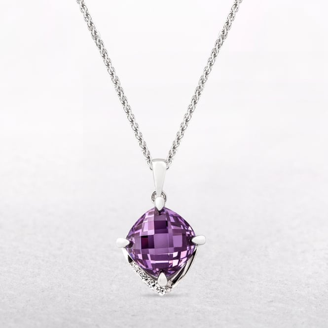 Silver Square Shaped Pendant with Claw Set Amethyst & Cubic Zirconia