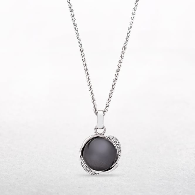Smokey Grey Pearl Pendant with Silver Arch Setting & Cubic Zirconia
