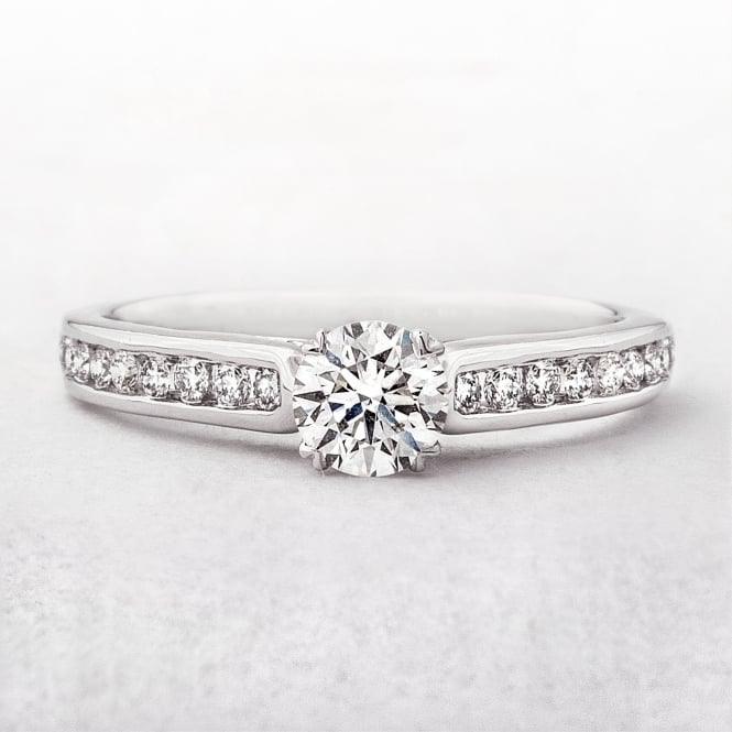 Solitaire 0.70ct Diamond Engagement Ring in White Gold