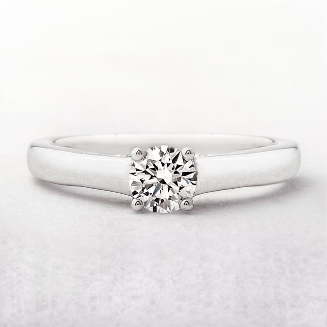Solitaire Round Cut .45ct Diamond Ring in White Gold