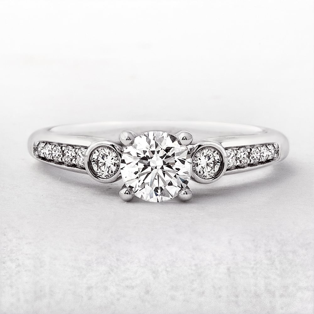 bezel with rings image side round engagement solitaire cut diamond ring diamonds set