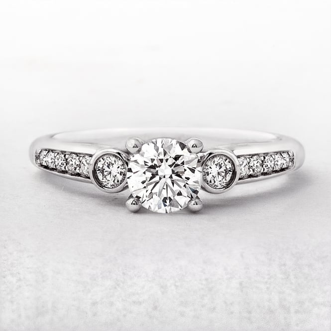 Solitaire Round Cut Diamond Ring with Bezel Set Side Diamonds